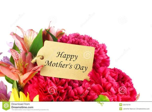 Happy Mother's Day Tag In Flower Bouquet Stock Photo ...