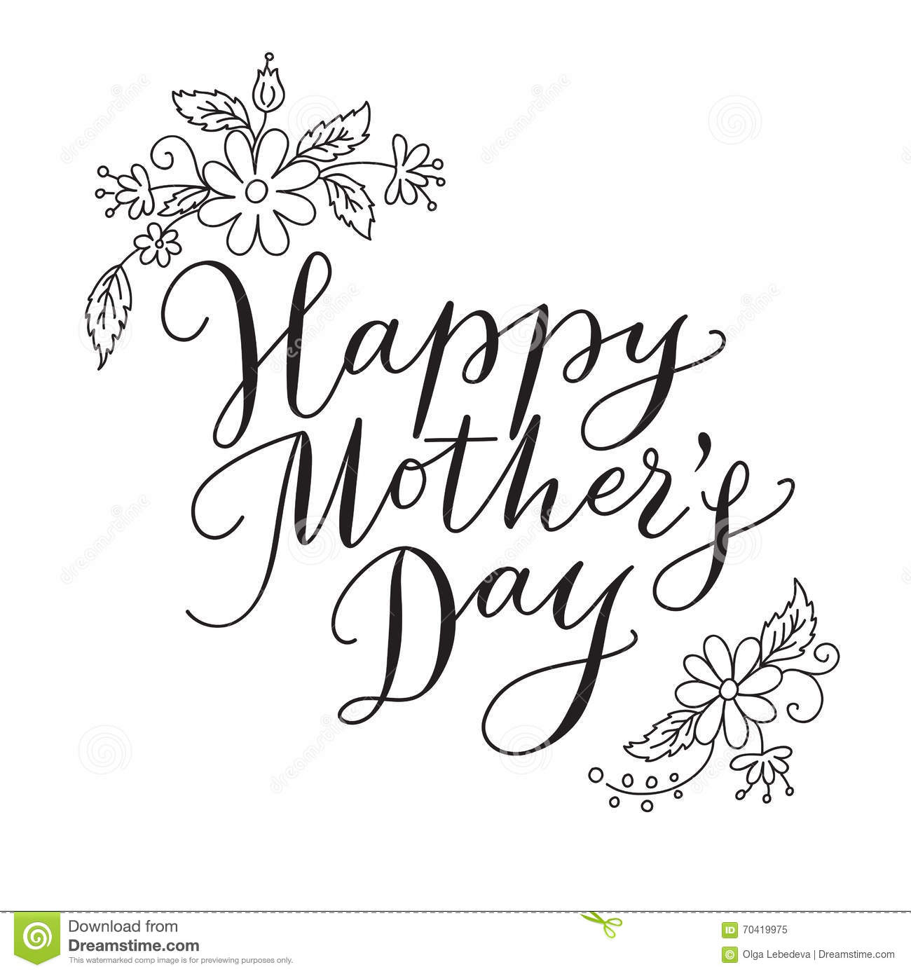Happy Mothers Day Card With Hand Drawn Text And Flowers