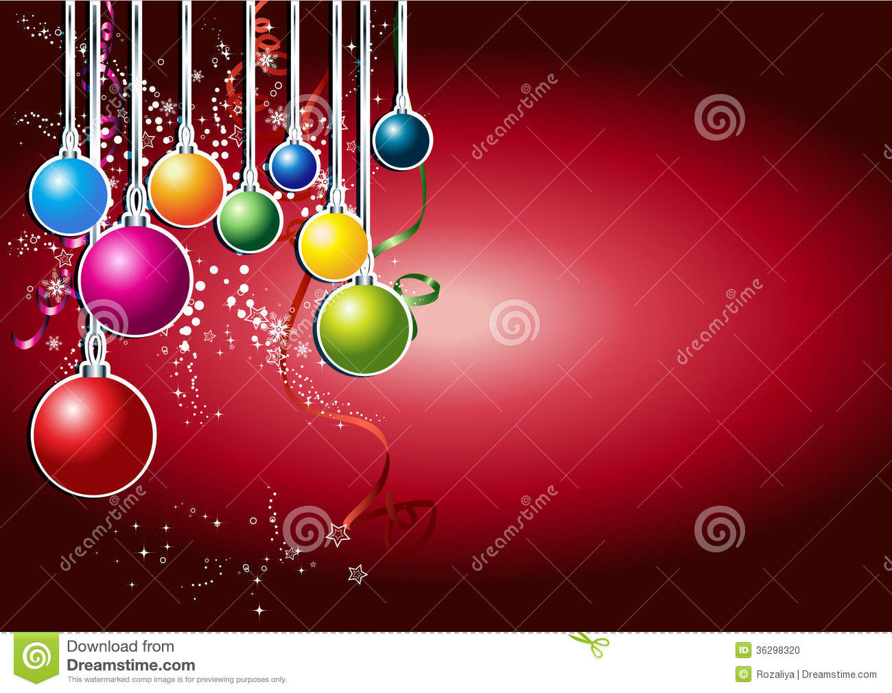 Happy New Year Card With Christmas Ball Stock Photo