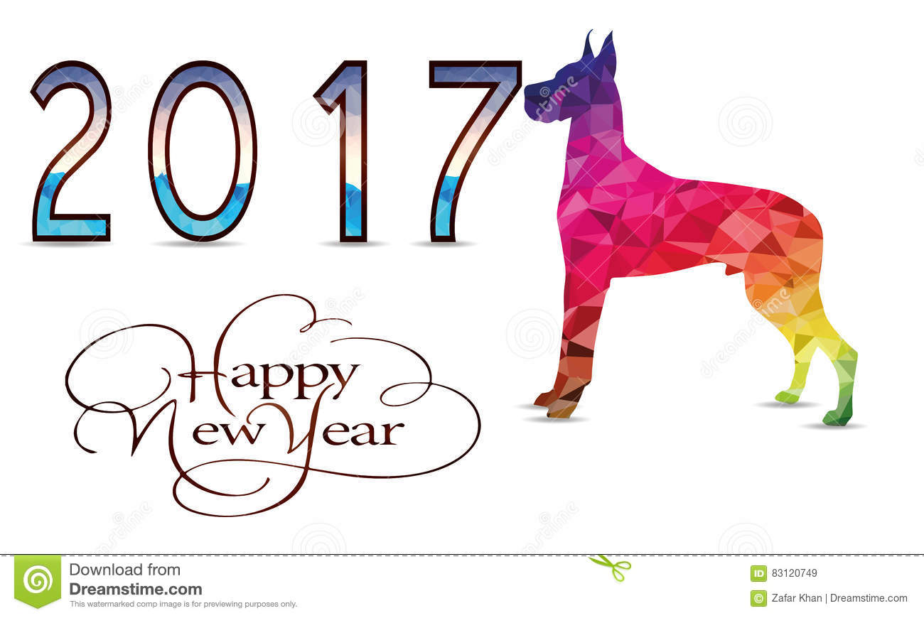 Happy New Year With Dog Vector Stock Vector
