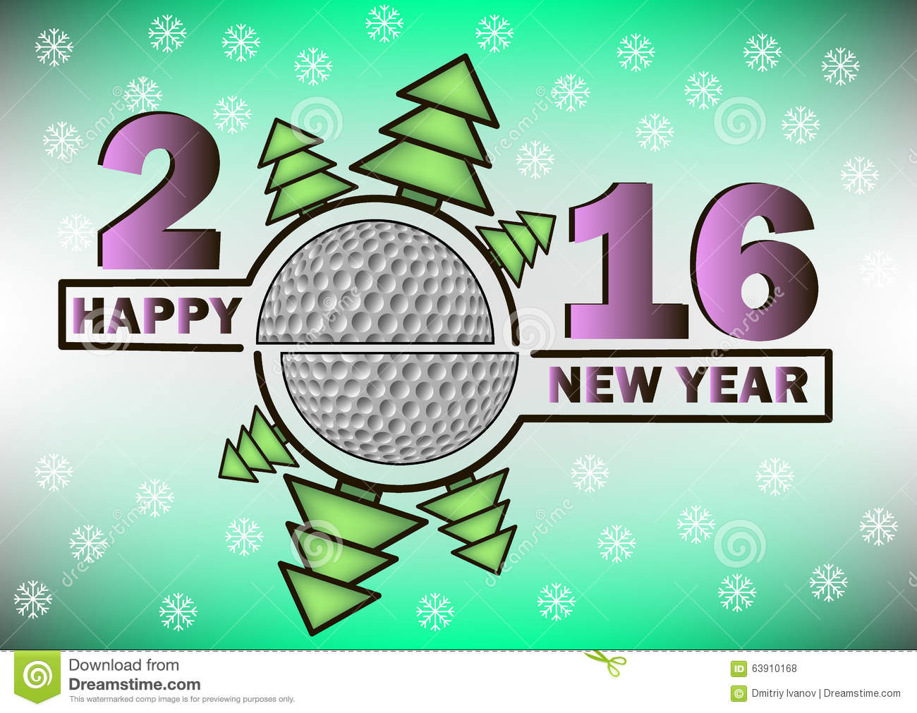 Happy New Year And Golf Ball Stock Vector Image 63910168