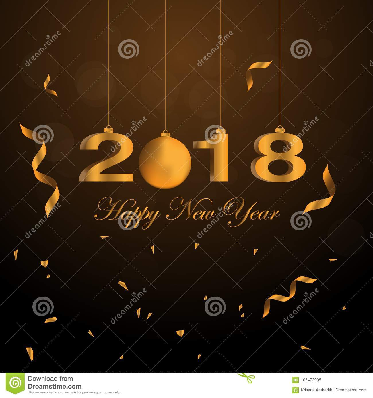 2018 Happy New Year Numbers With Golden Color Background Stock     Download 2018 Happy New Year Numbers With Golden Color Background Stock  Illustration   Illustration of celebration
