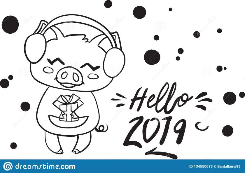 happy new year  pig coloring page for kid stock vector