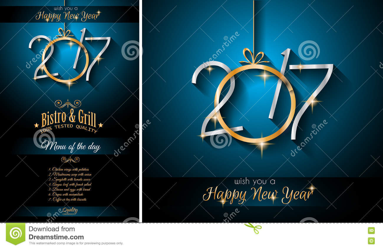2017 Happy New Year Restaurant Menu Template Background Stock Vector     Download 2017 Happy New Year Restaurant Menu Template Background Stock  Vector   Illustration of greetings