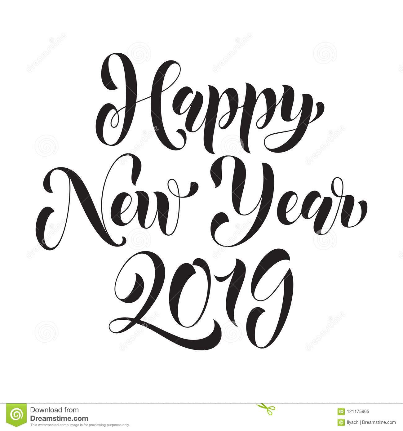 Happy New Year Vector Calligraphy Lettering Stock