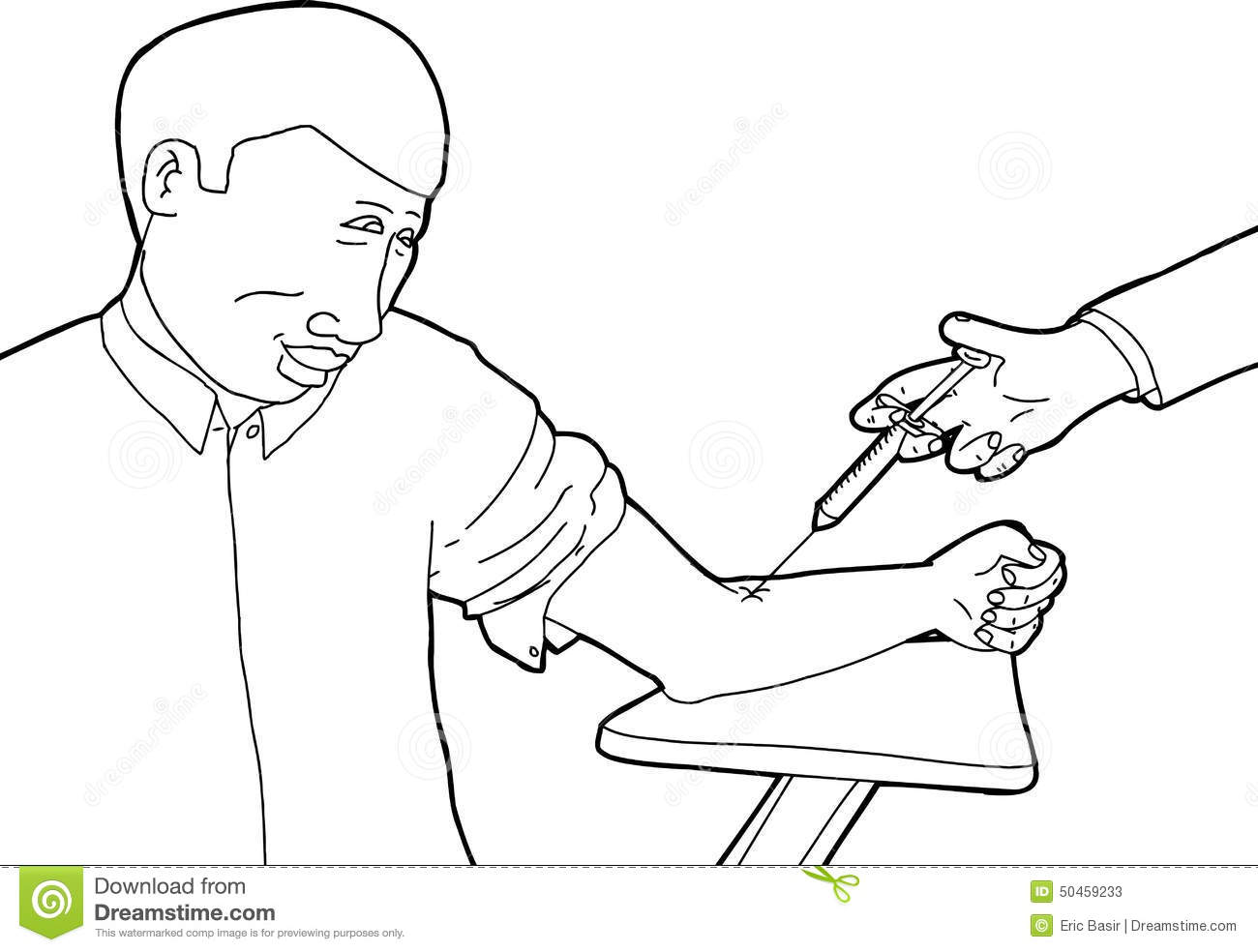 Happy Patient Getting Vaccinated Stock Illustration