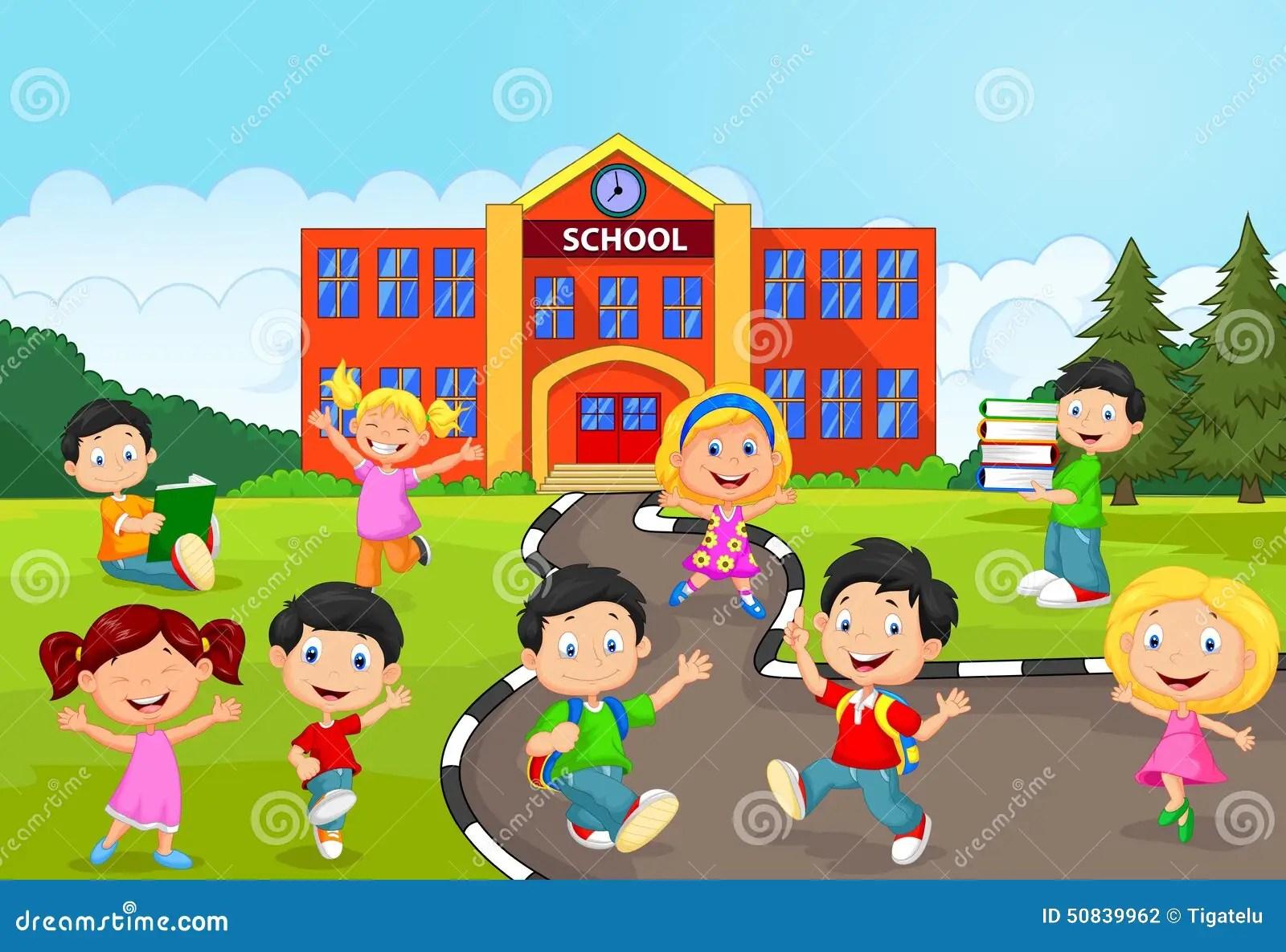 Happy School Children Cartoon In Front Of School Stock