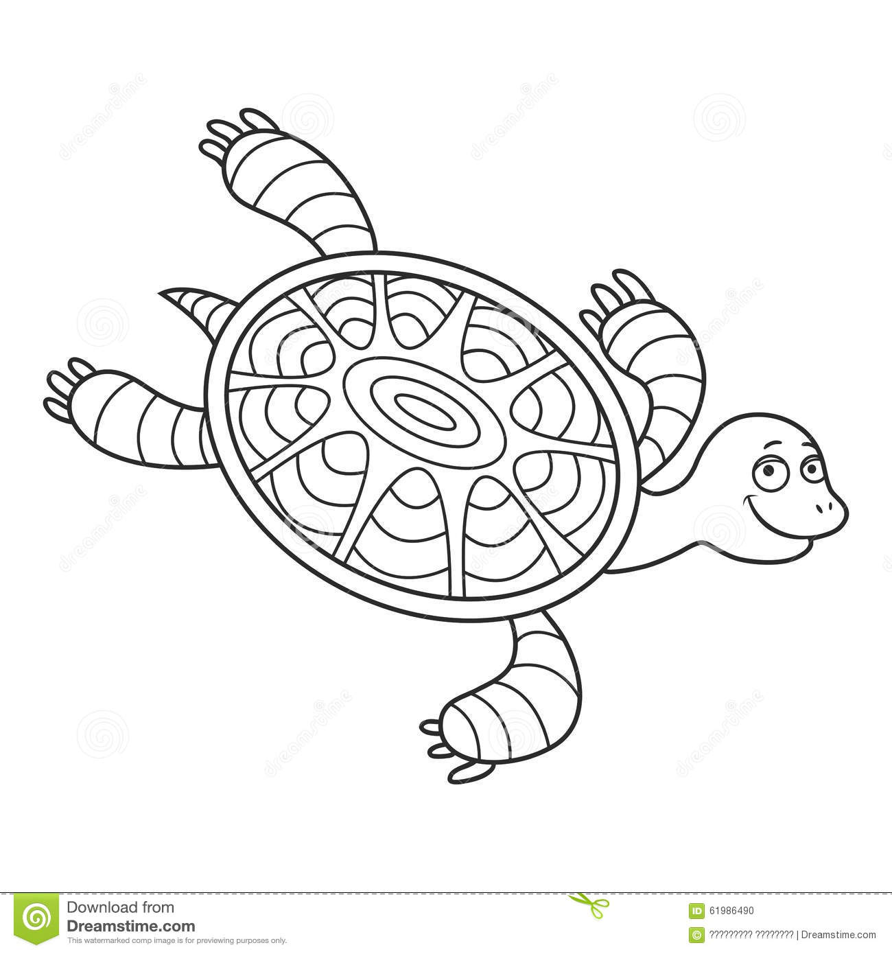 Happy Sea Turtle Cartoon Stock Illustration