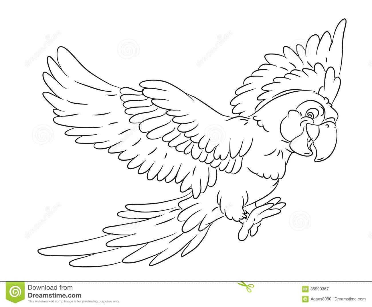 Happy Smiling Cartoon Flying Parrot Coloring Page Stock