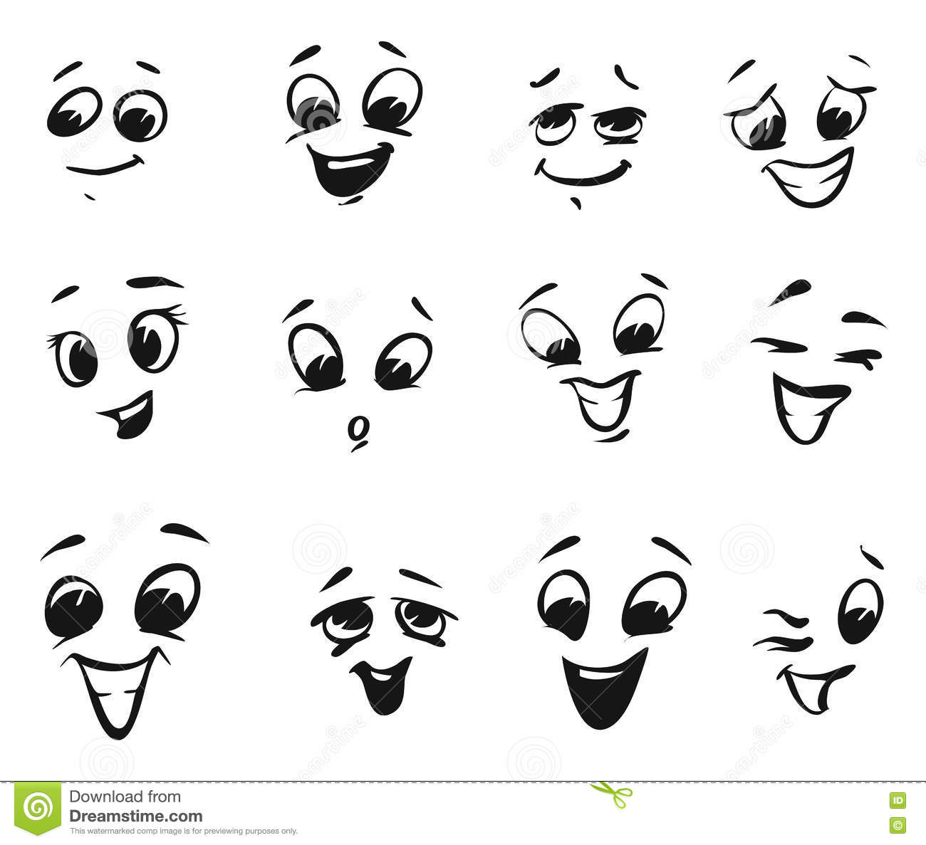 Happy Smiling And Laughing Cartoon Faces Stock Vector