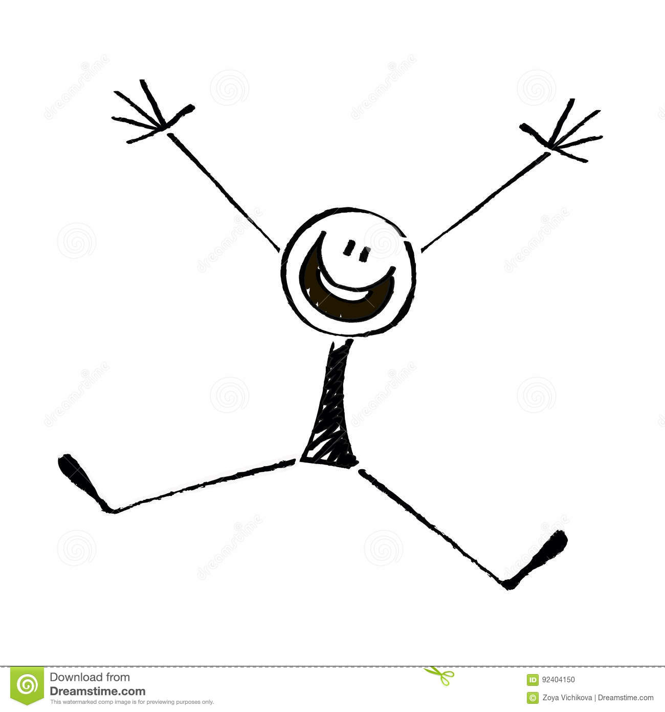 Happy Stick Figure On A White Background Stock Vector