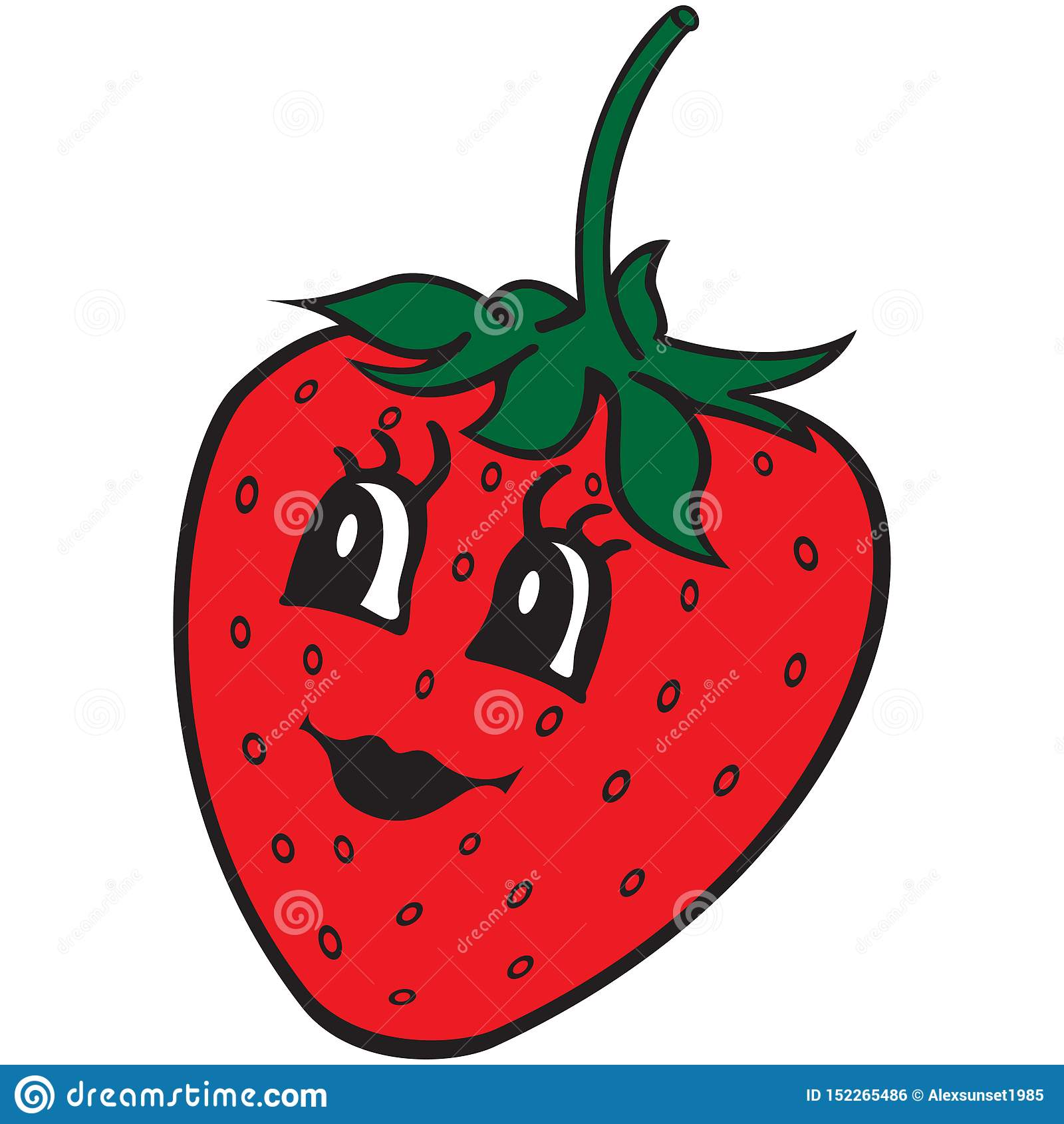Happy Strawberry Cartoon Symbol Design Element For Kids Coloring Book Colouring Page T Shirt Print Label Sticker Stock Vector Illustration Of Background Food 152265486