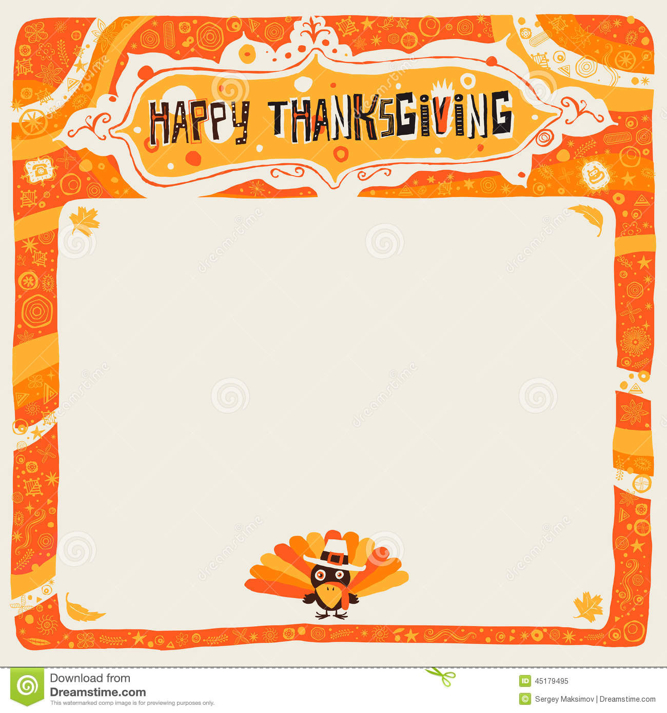 Happy Thanksgiving Postcard Poster Background Ornament