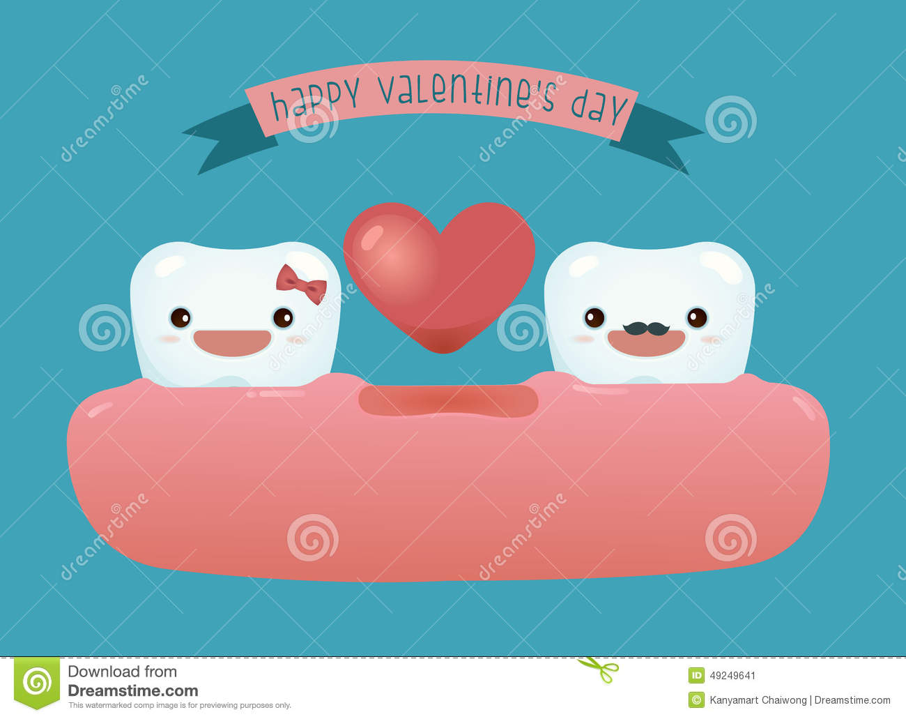 Happy Valentines Day Of Dental Stock Vector