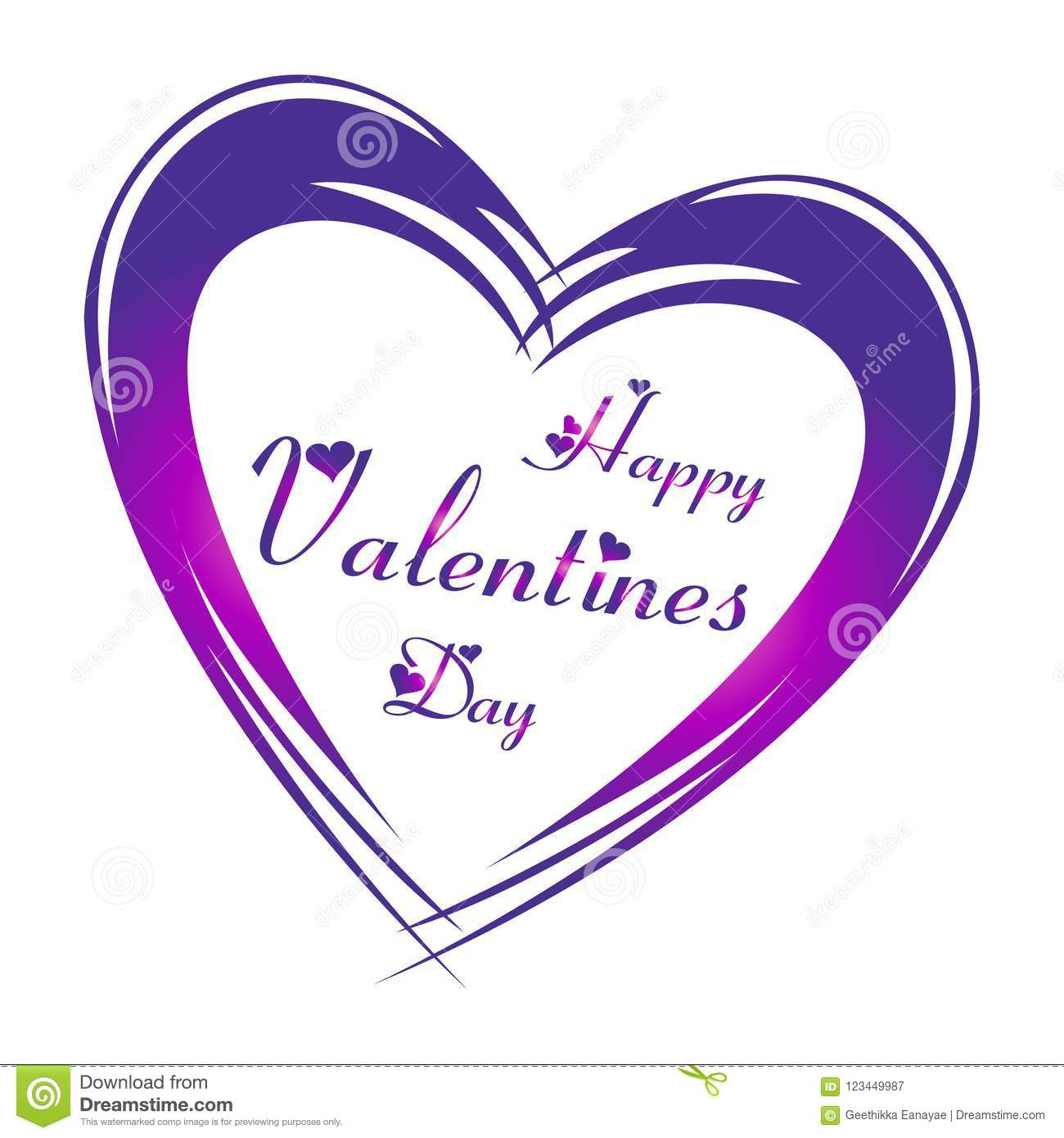 Happy Valentine S Day In Purple Color Lettering With Heart