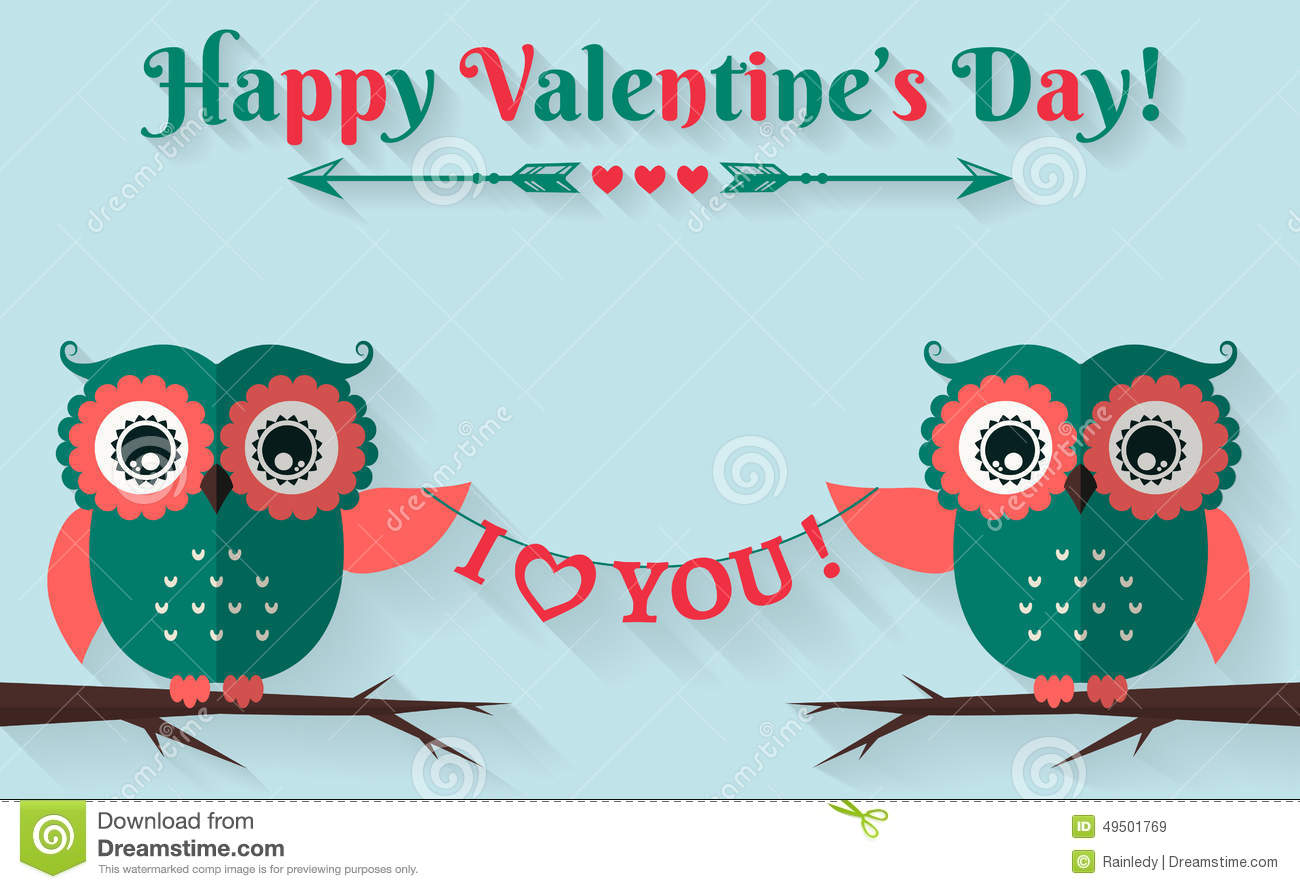 Happy Valentines Day Vector Greeting Card With Flat Owls Stock Vector Image 49501769
