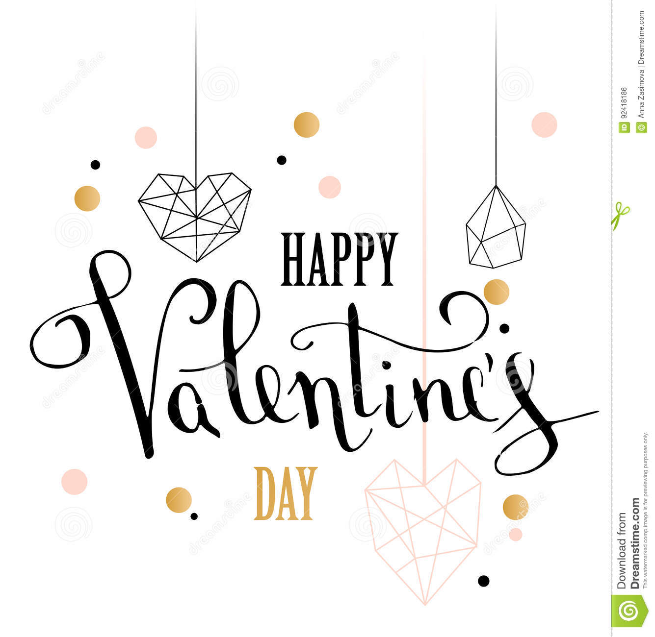 Happy Valentines Day Love Greeting Card With White Low