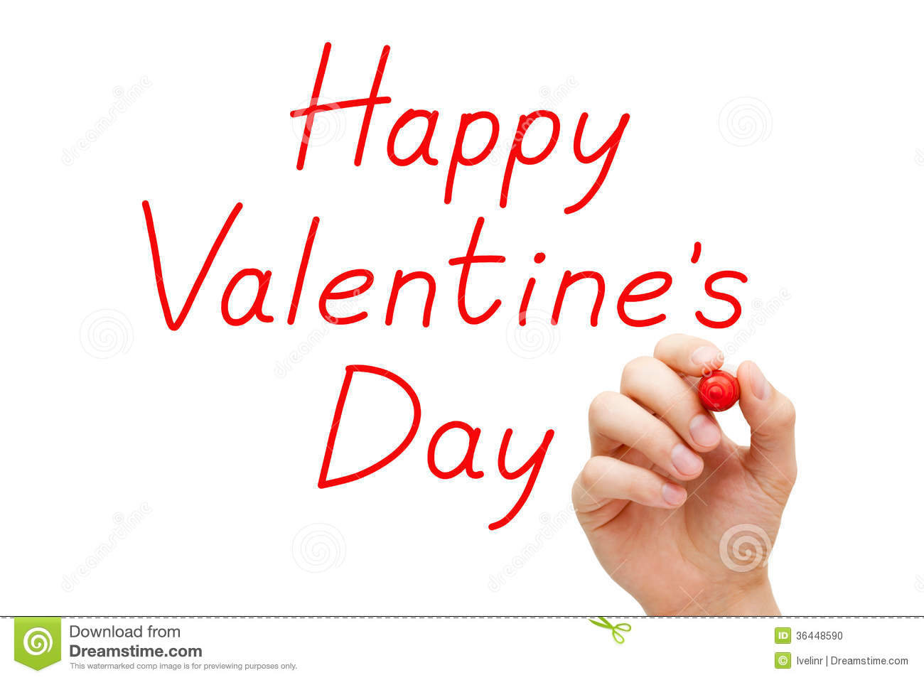 Happy Valentines Day Red Marker Stock Photo