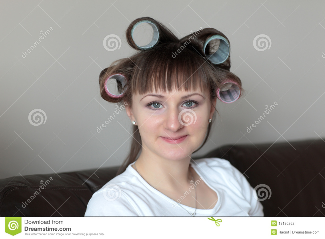 Happy Woman In Rollers Stock Photo Image Of Style Curled