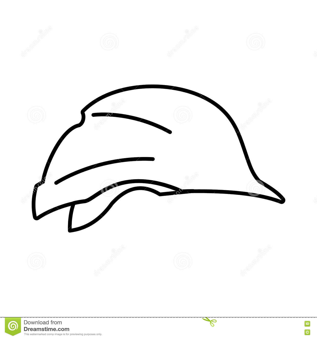 Hardhat Icon Outline Style Cartoon Vector