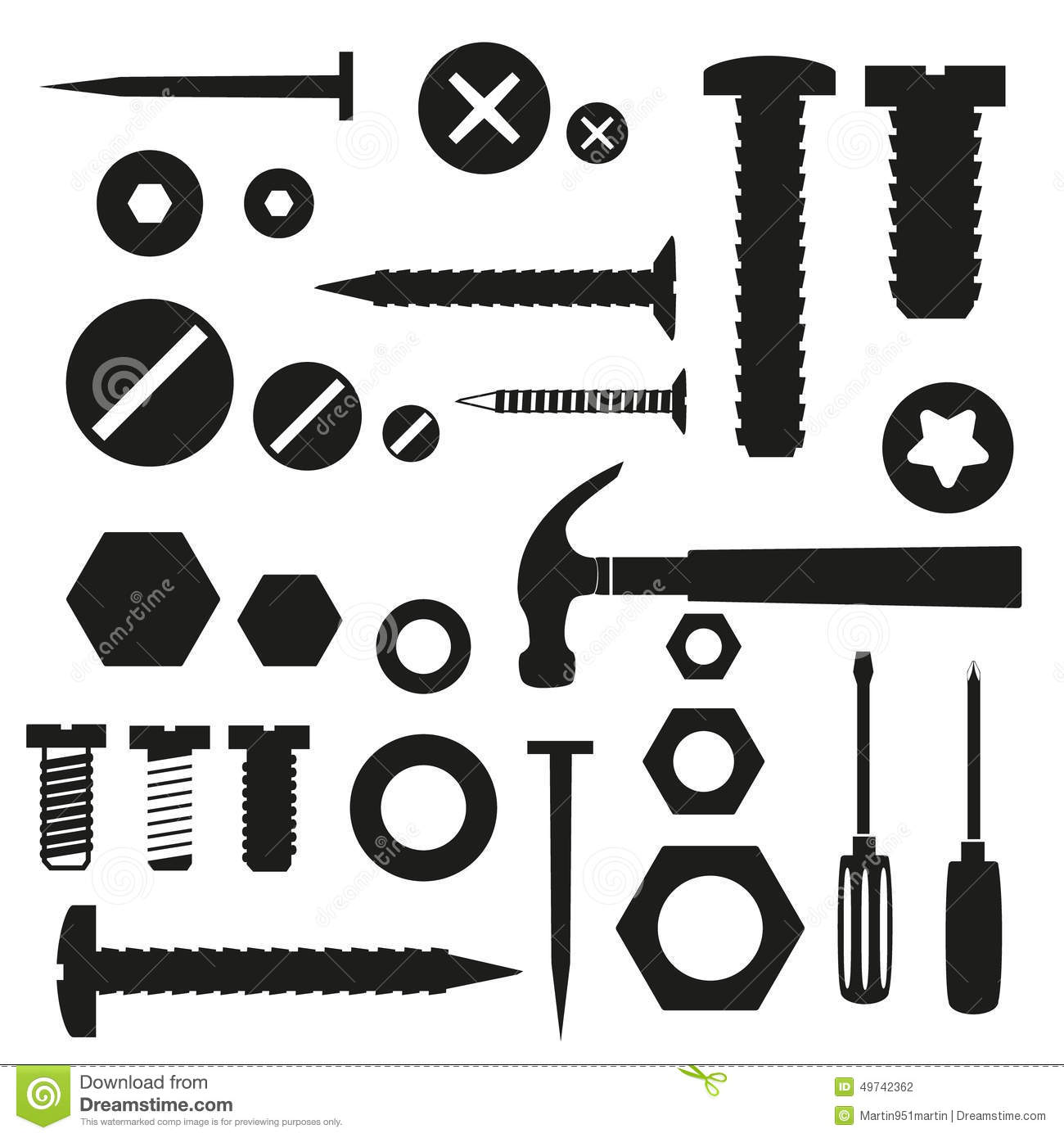 Hardware Screws And Nails With Tools Symbols Stock Vector