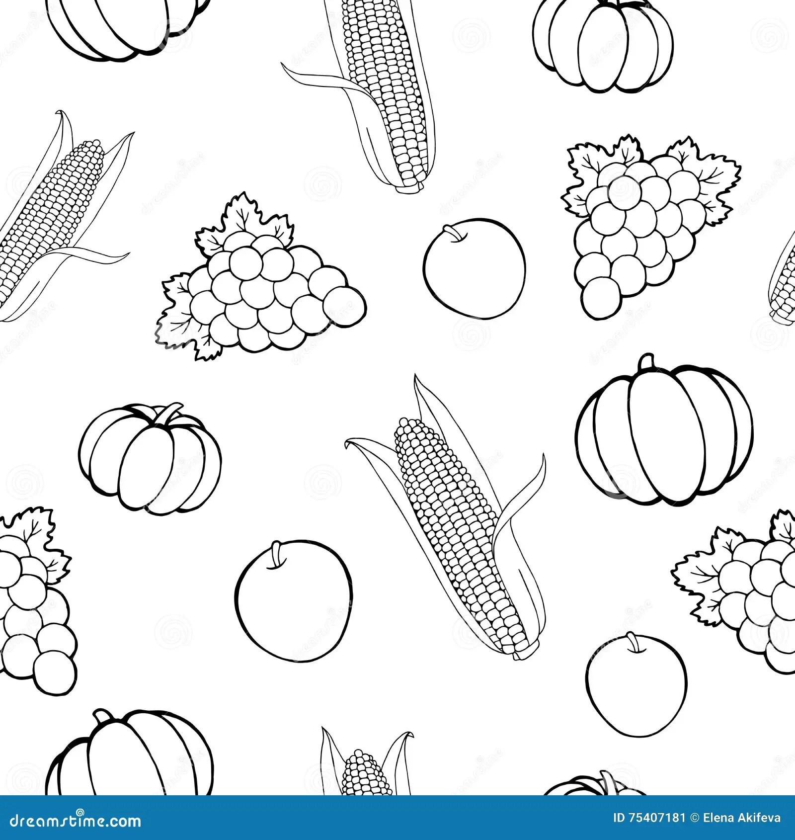 Harvest Pumpkin Apple G S Corn Graphic Art Seamless Pattern Black White Illustration Stock