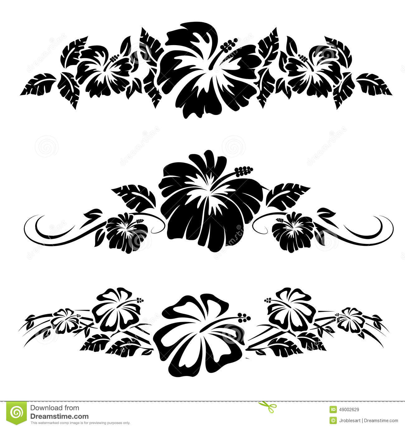 Hawaiian Hibiscus Flowers Stock Vector