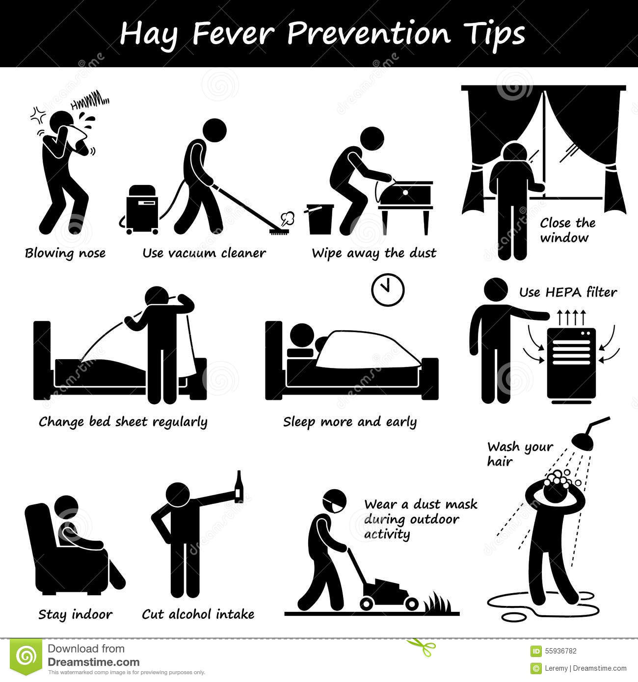 Hay Fever Prevention Allergy Tips Clipart Stock Vector