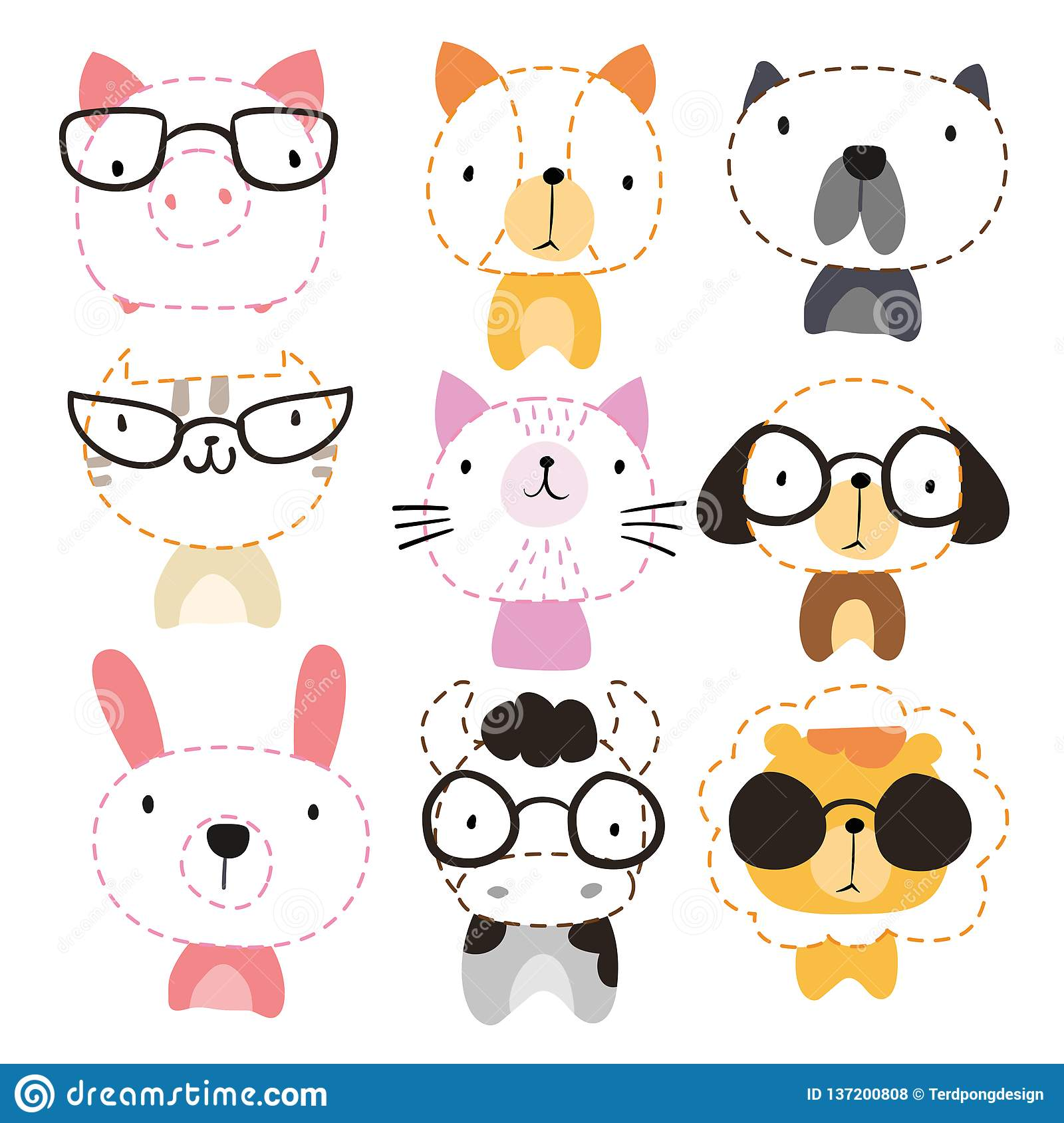 Head Animals Worksheet Vector Design Stock Vector