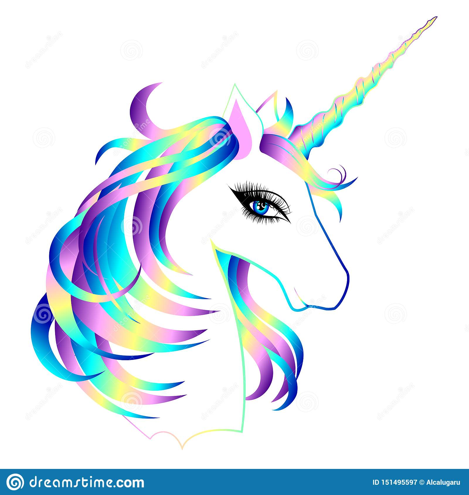 Head Of Cute White Unicorn With Rainbow Mane Stock Vector