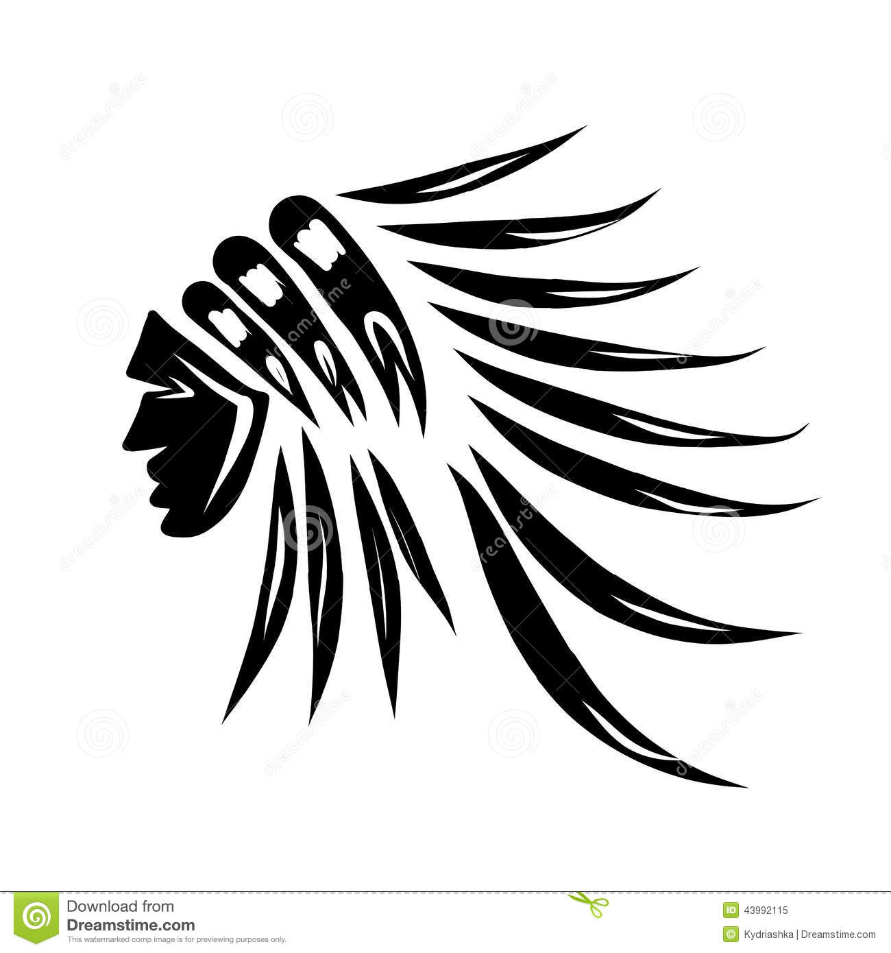 Head Of Indian Chief Black Silhouette For Your Stock