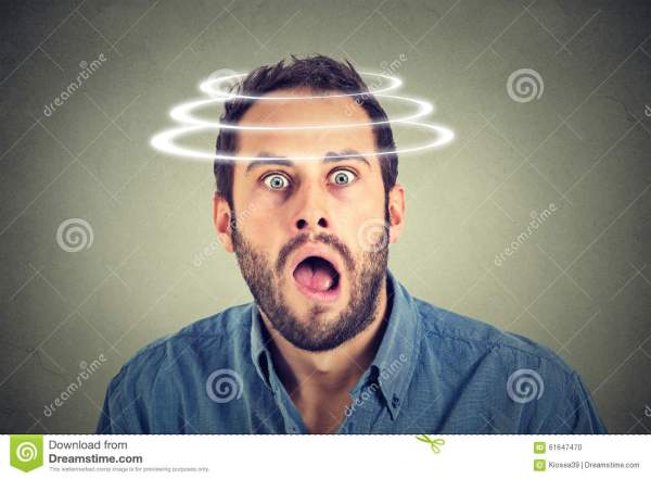 Head Is Spinning. Surprise Astonished Man. Stock Photo ...
