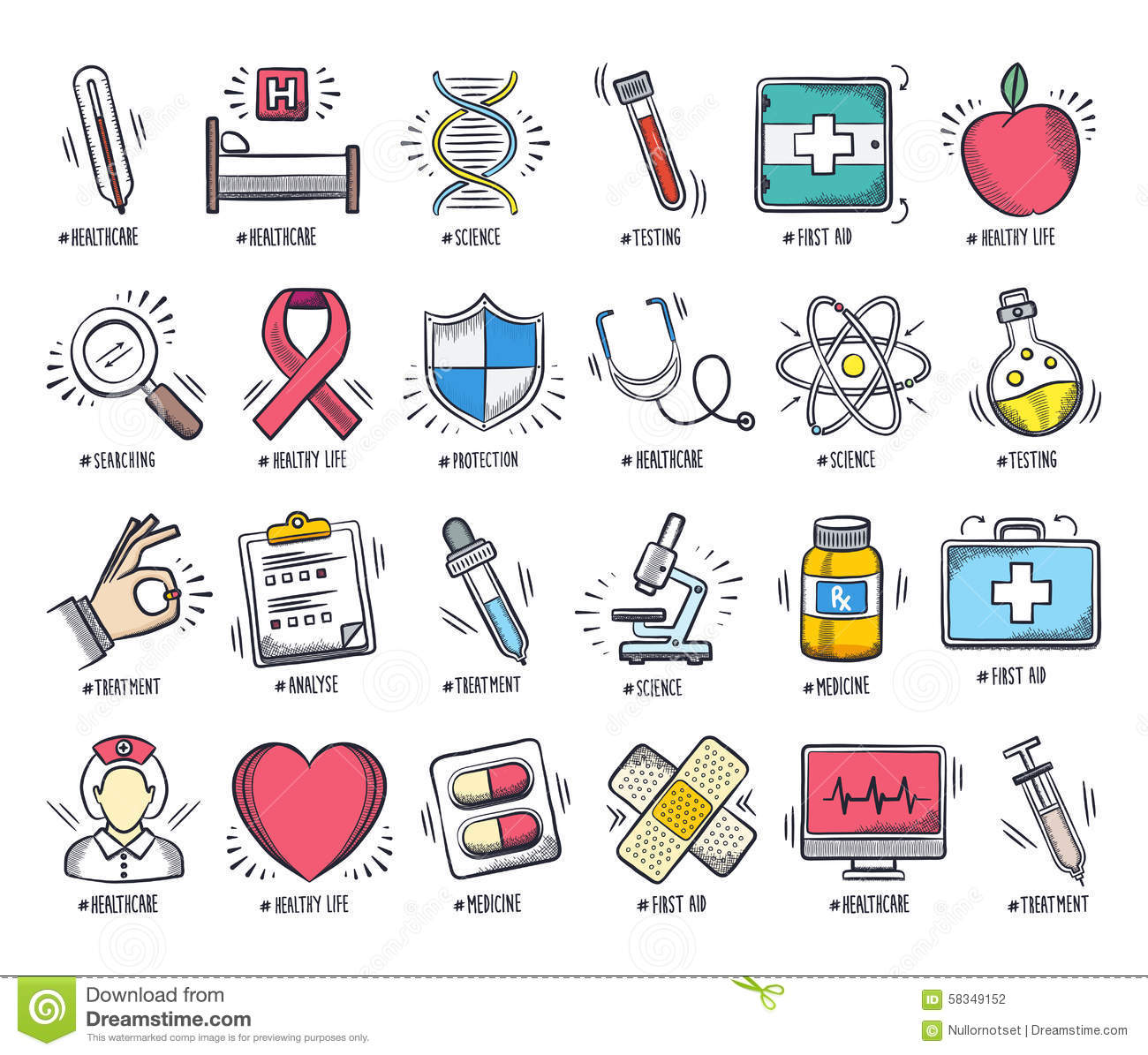 Health Care And Medicine Doodle Icon Set Stock Vector