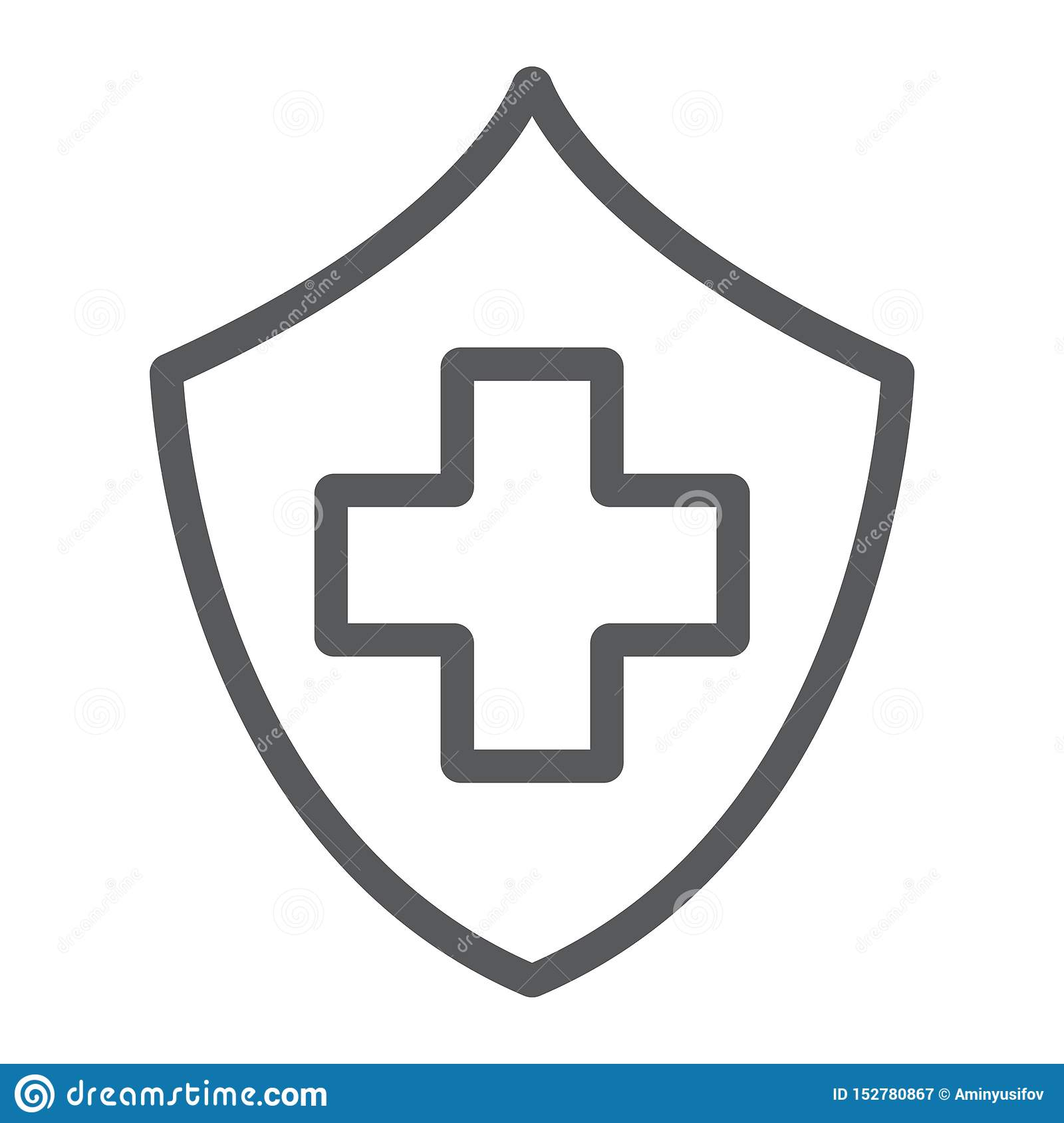 Health Insurance Line Icon Safety And Care Healthcare