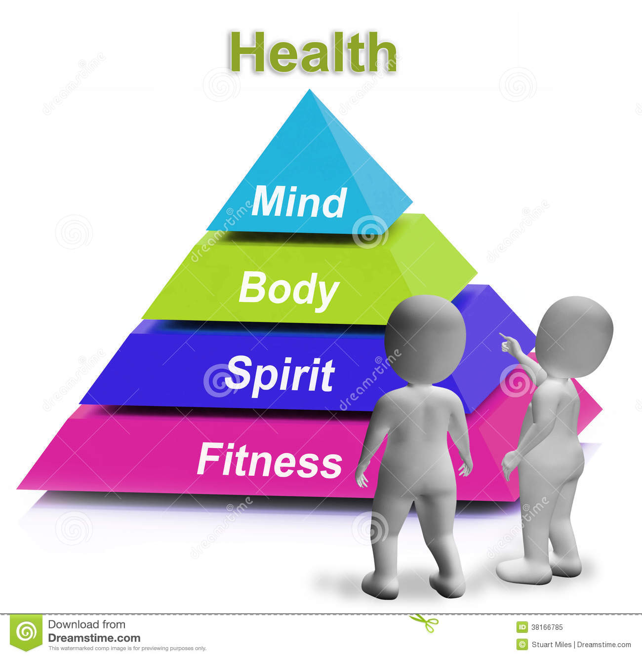 Health Pyramid Shows Fitness Strength And Wellbeing Stock