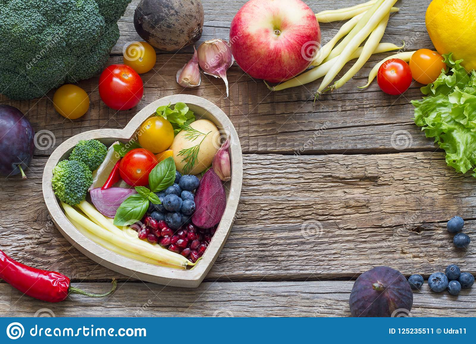 Healthy Food In Heartt Cooking Concept With Fresh