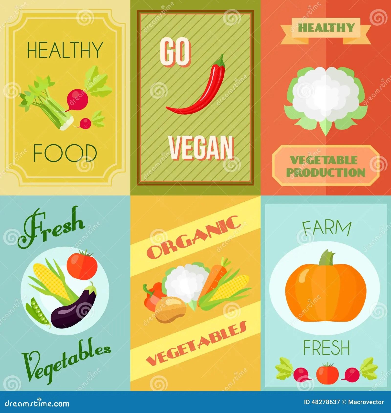 Healthy Food Mini Poster Set Stock Vector