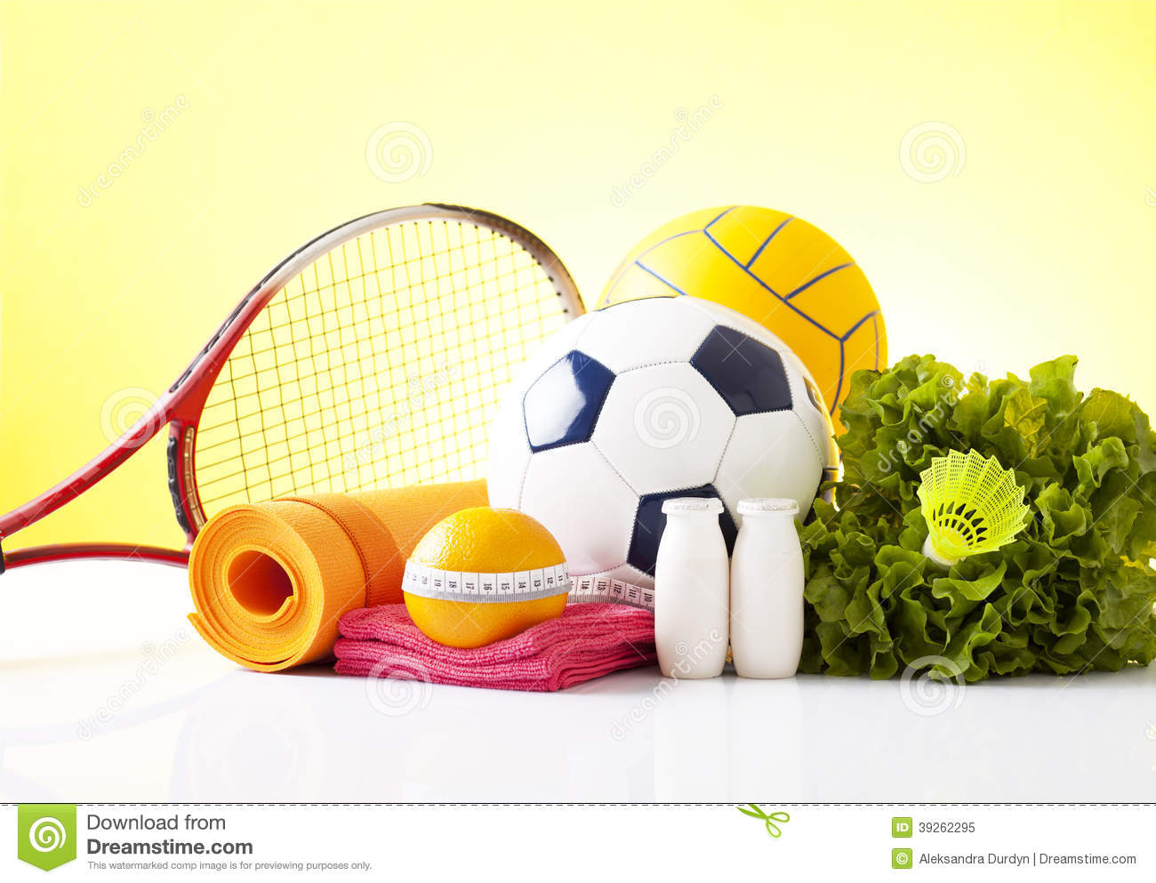 Healthy Food And Sport Equipment Isolated On White Stock