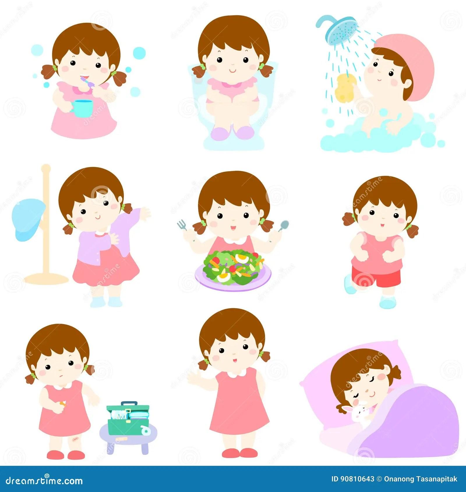 Daily Healthy Routine For Girl Cartoon Cartoon Vector
