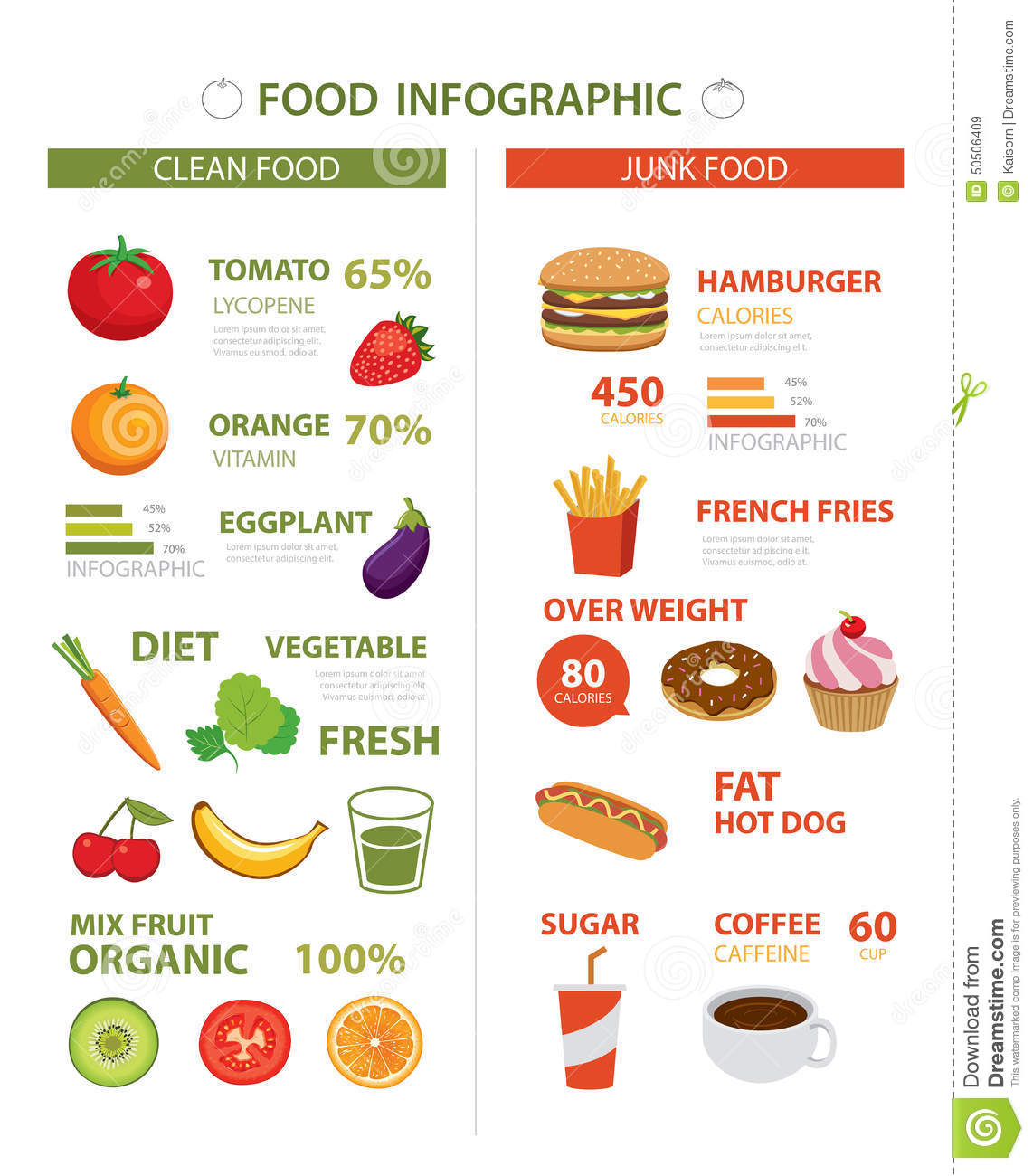 Healthy And Junk Food Infographic Stock Vector