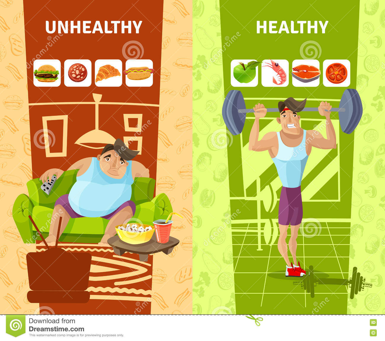 Healthy And Unhealthy Man Banners Set Stock Vector