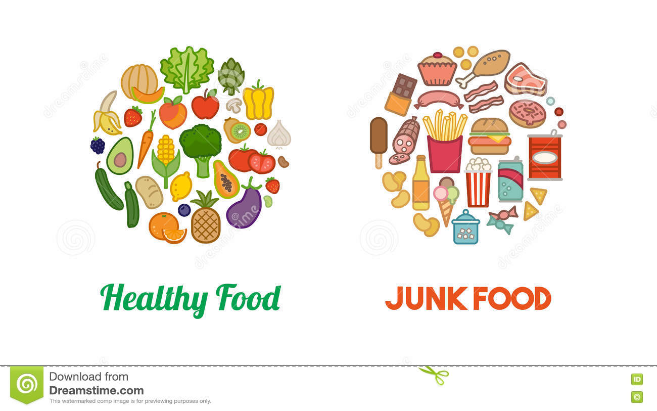 Healthy Vegetables And Junk Food Stock Vector