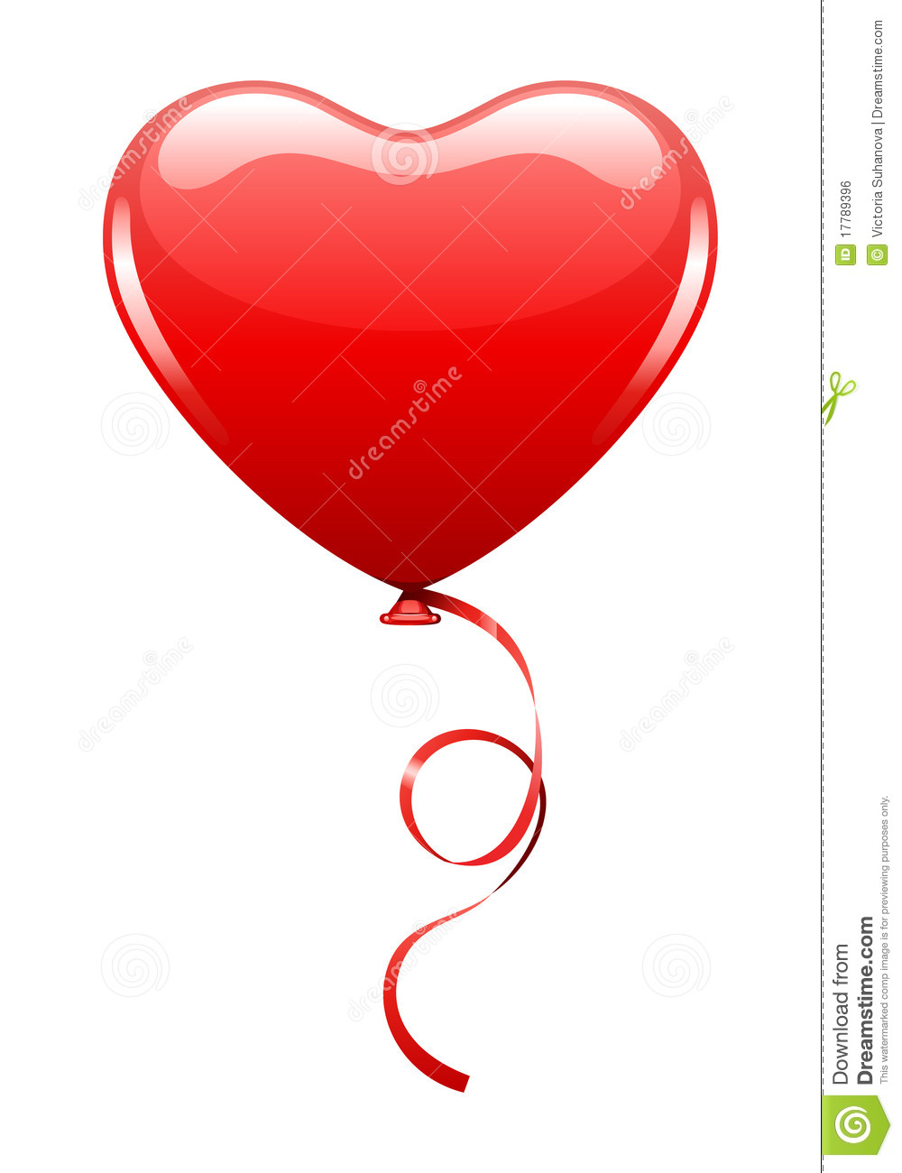 Heart As Air Balloon With Ribbon Royalty Free Stock Image