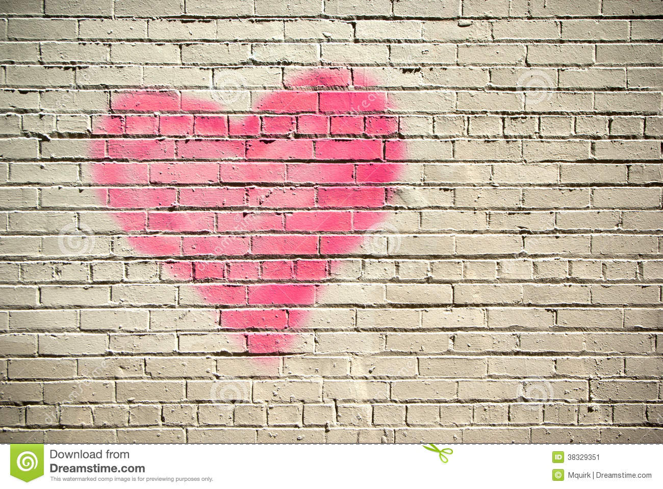 Heart On A Brick Wall Stock Image Image Of Grungy