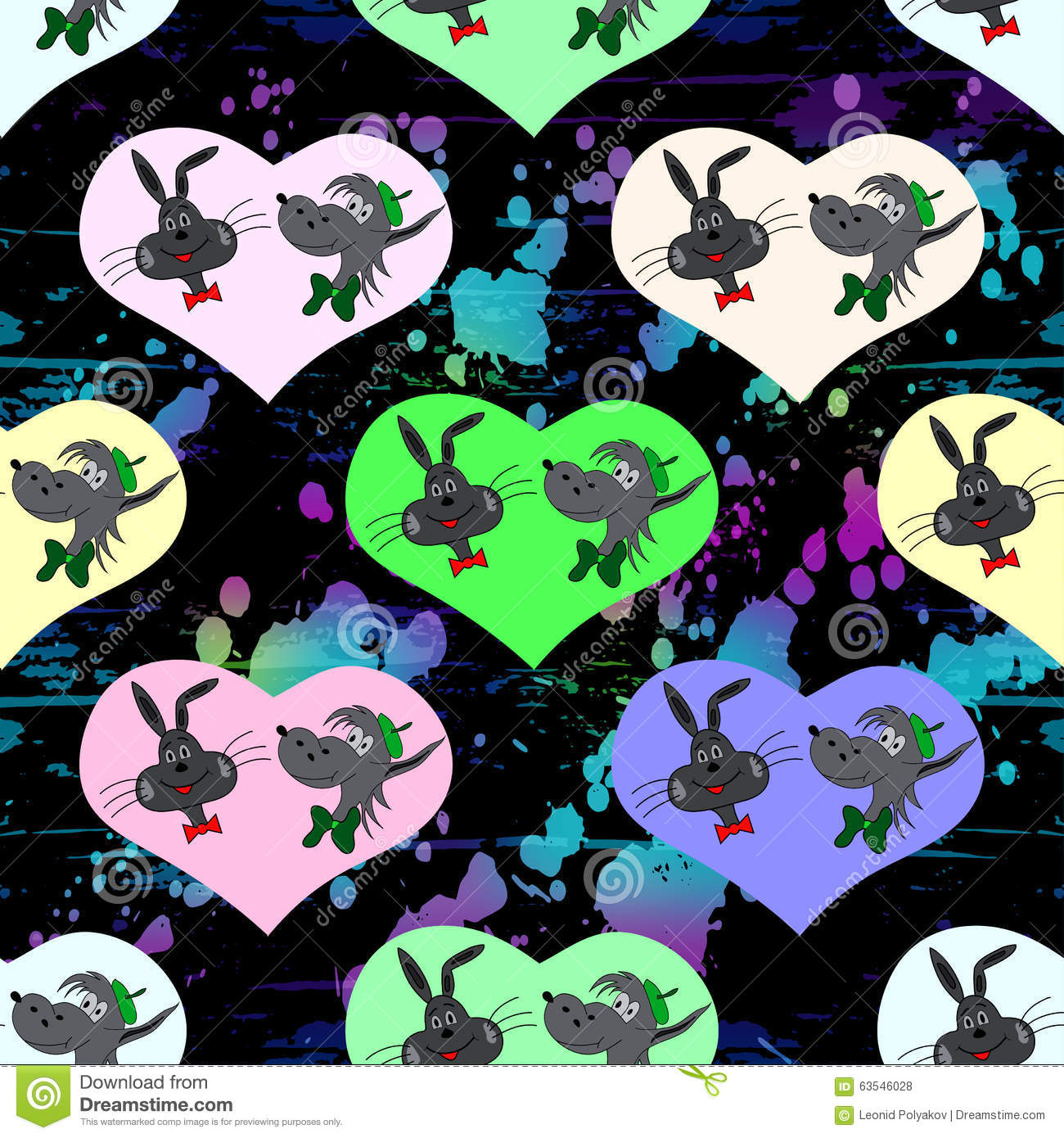 Hare And A Wolf In Colored Hearts Valentines Day Seamless