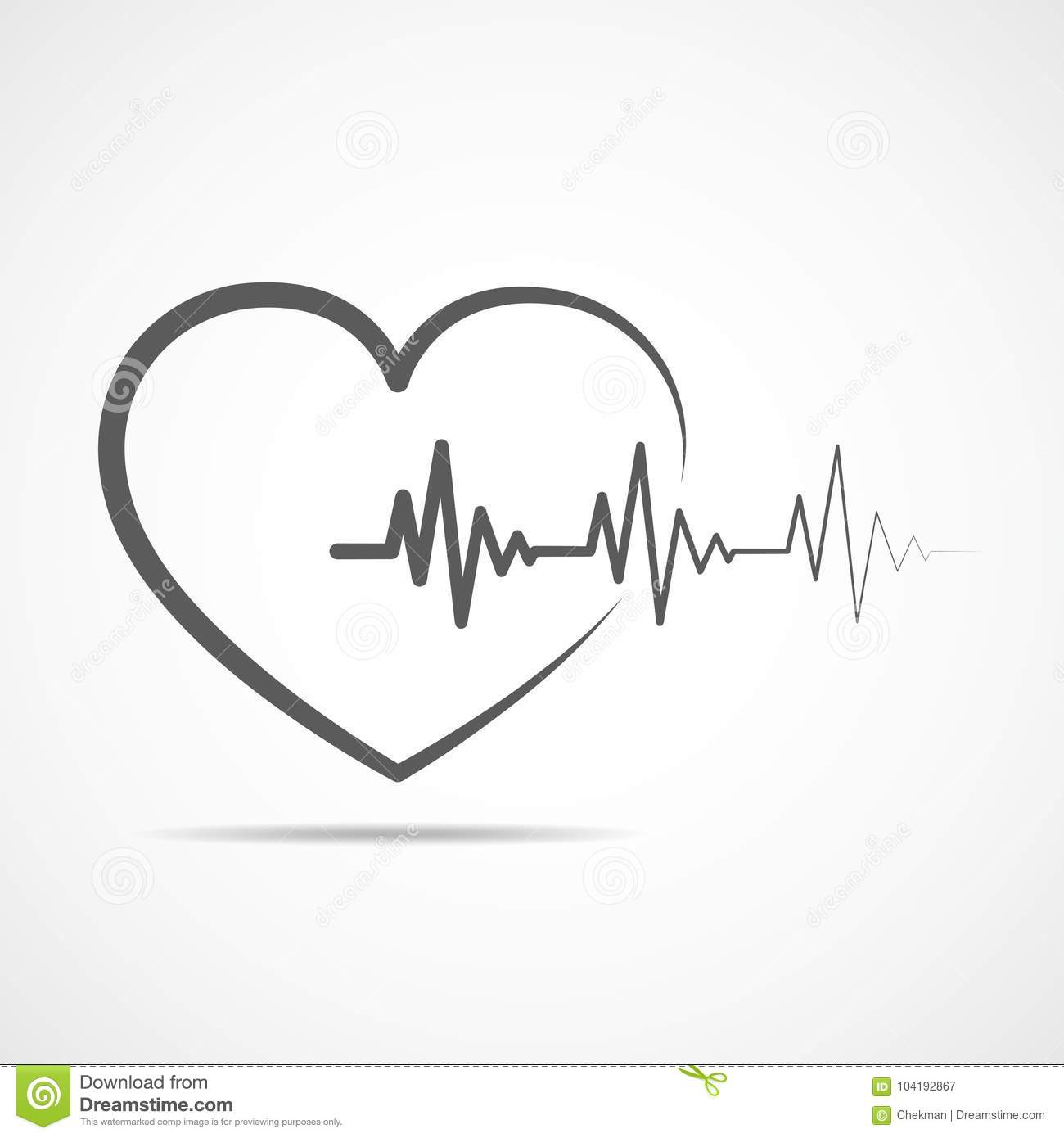 Heart With Heartbeat Sign Vector Illustration Stock