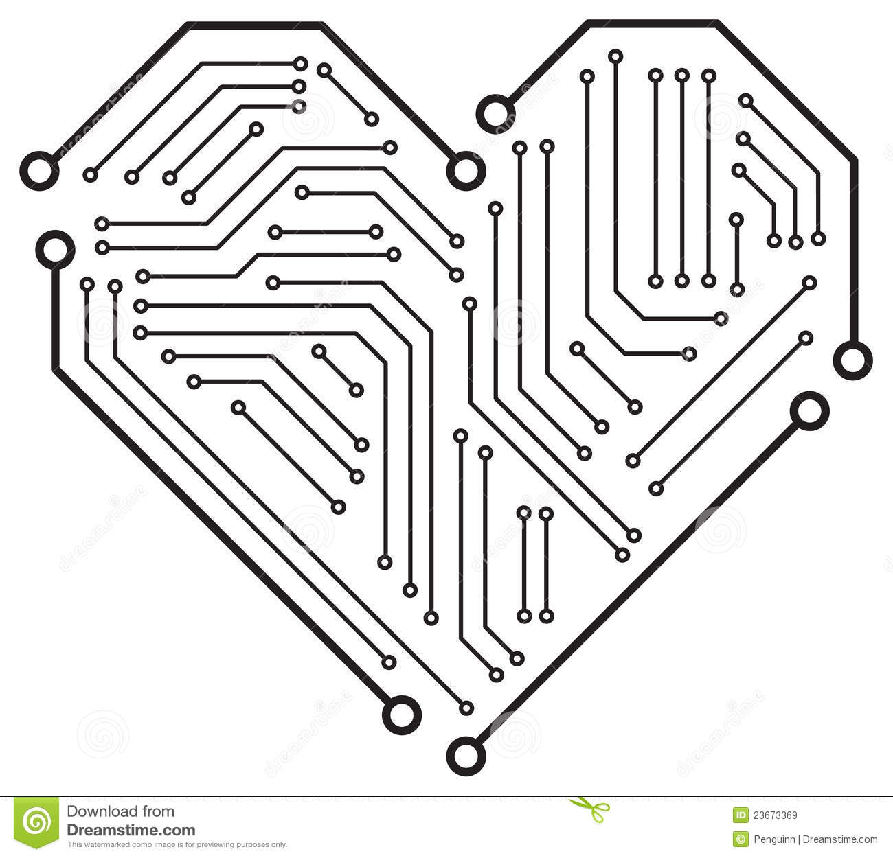 The Heart Motherboard Stock Vector Illustration Of