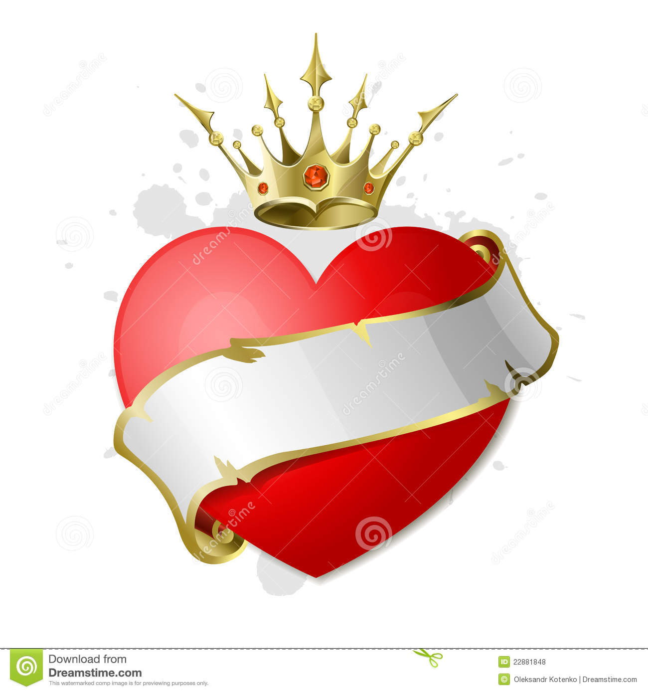 Heart With Ribbon And Crown Royalty Free Stock Photos