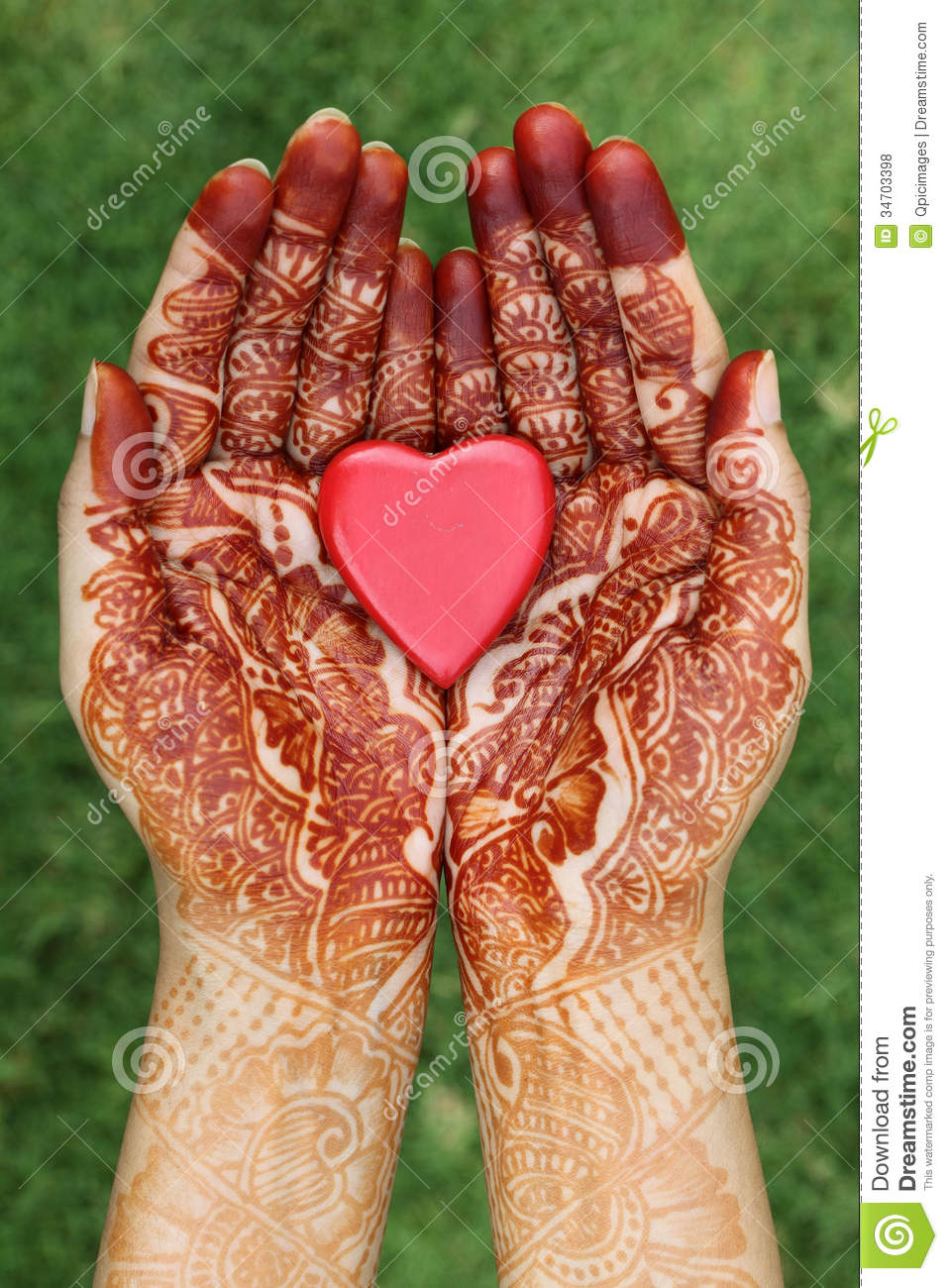 Heart Shape In Henna Hands Stock Photo Image Of