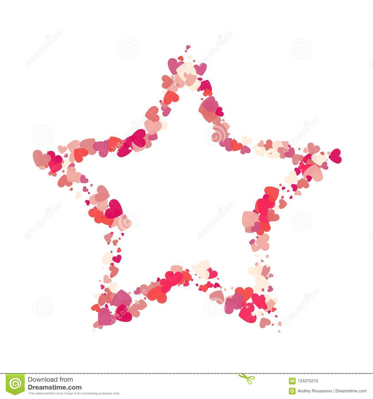 Heart Shape Vector Pink Confetti With White Star Frame